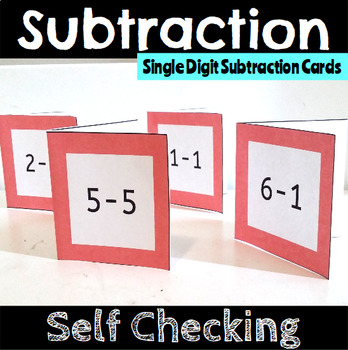 Self Checking Single Digit Subtraction Cards