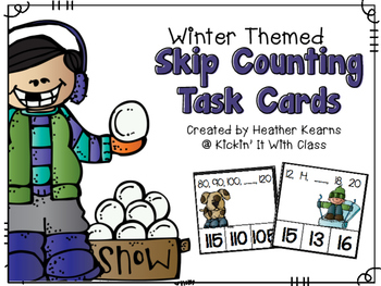 Self-Checking Skip Counting Task Cards {Winter Themed}
