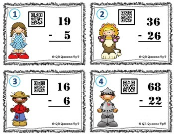 Subtraction Task Cards using QR Codes - With/Without Regrouping
