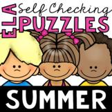 Self Checking Summer Themed ELA Puzzles