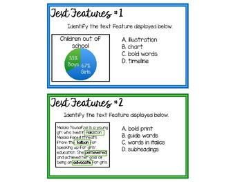 Self-Checking Text Features Task Cards