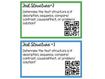 Self-Checking Text Structure Task Cards