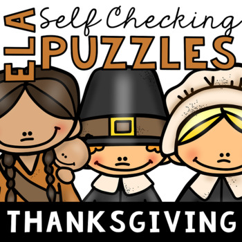 Self Checking Thanksgiving Themed ELA Puzzles