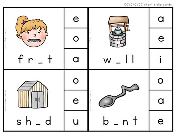 Self-Checking Vowel Clip Cards Bundle Pack
