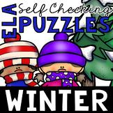 Self Checking Winter Themed ELA Puzzles