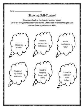 Self-Control Thought Bubbles worksheet
