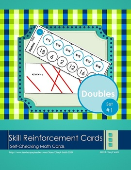 Self Correcting Math Skill Reinforcement Cards, Set #1: Adding Doubles