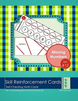 Self Correcting Math Skill Reinforcement Cards, Set #12: Missing Numbers