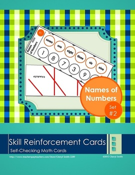 Self Correcting Math Skill Reinforcement Cards, Set #2: Names of Numbers