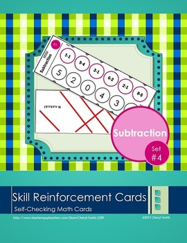 Self Correcting Math Skill Reinforcement Cards, Set #4: Subtraction