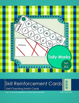 Self Correcting Math Skill Reinforcement Cards, Set #6: Tally Marks