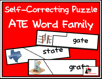 Self Correcting Puzzle - ATE Word Family Words