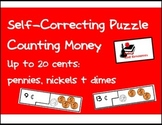 Self Correcting Puzzle - Counting Pennies, Nickels & Dimes - 20 cents