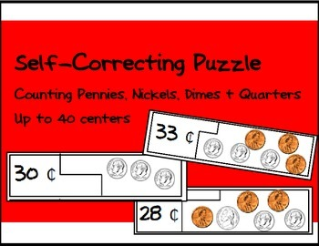 Self Correcting Puzzle - Counting Pennies, Nickles & Dimes - 40 cents