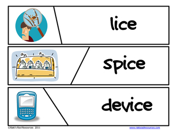 Self Correcting Puzzle - ICE Word Family Words