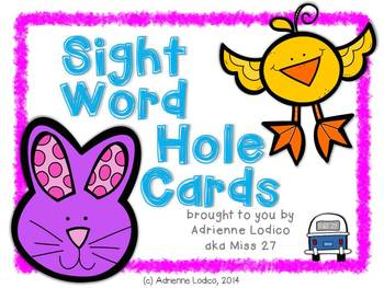 Self-Correcting Sight Word Hole Cards FREE from Fry words 226-250 Full Color