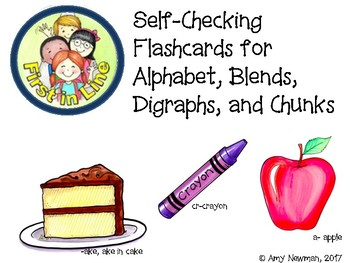 Self- Correcting flash cards to practice alphabet, blends, digraphs, and chunks