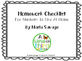 Self-Directed Homework Checklist