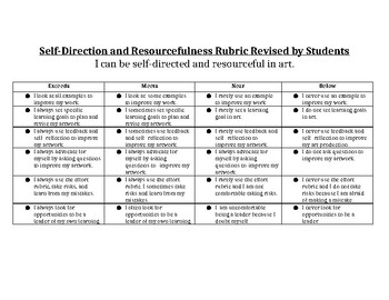 Self-Directed and Resourceful Rubric Art ELementary