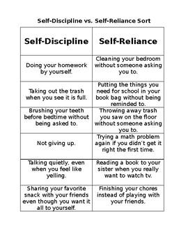Self-Discipline vs. Self-Reliance Sort