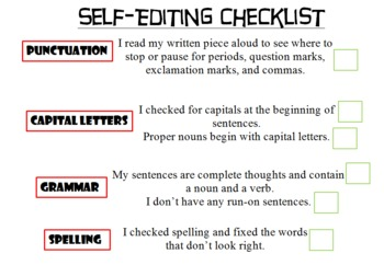 Self-Editing Writing Checklist for Students