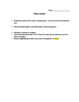 Self-Editing and Peer-Editing Checklist