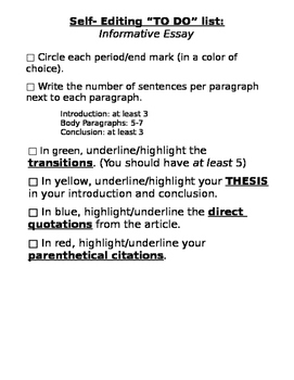 Self Editing sheets for writing essays, informative, argument and narrative