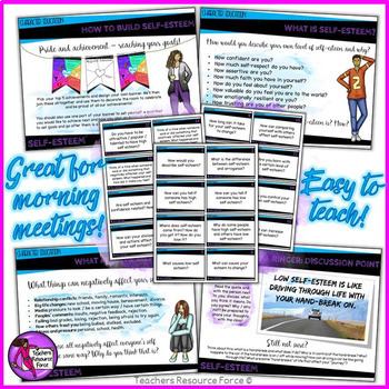 Self-Esteem Lesson: Character Education (PowerPoint, Task Cards & Printables)
