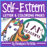 Self-Esteem Coloring Pages Posters - Unicorn Theme