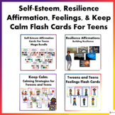 Self- Esteem, Feelings, Keep Calm & Resilience Flash Cards For Teens Bundle