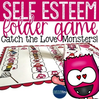 Self Esteem Folder Game - Elementary School Counseling - Catch the Love Monsters