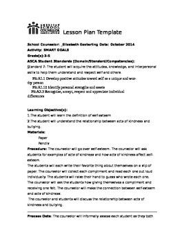 Self-Esteem Game on ASCA model lesson template