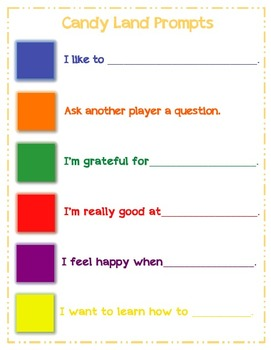 Self-Esteem Prompts for Candy Land