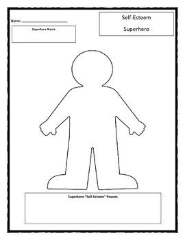 Self-Esteem Superhero worksheet