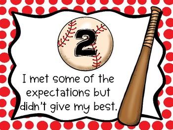 Self Evaluate Effort Posters - Baseball Themed