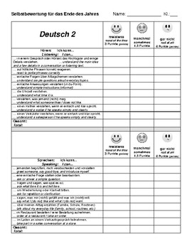 Self-Evaluation End of Year German