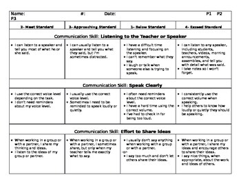 Self-Evaluation Report Card Goals for Student-led Parent Teacher Conferences