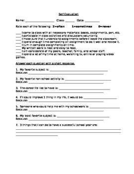 Self Evaluation Survey