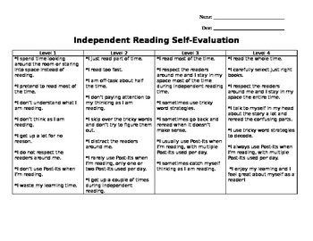 Self-Evaluation of Independent Reading