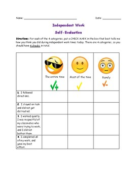 Self-Evaluation of Independent Work Time