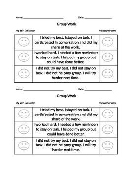 Self Evaluations for primary students - group work