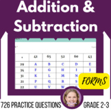 Self Grading Distance Learning Addition & Subtraction Practice G2-3(Forms)