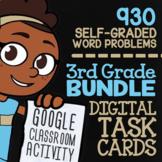 Self-Grading Google Classroom | 3rd Grade Math Review Task Cards (Digital)