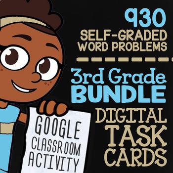 Self-Grading Google Classroom™ | 3rd Grade Math Review Task Cards (Digital)