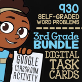 Self-Grading Google Classroom™ | 3rd Grade Math Review Task Cards (Digital)