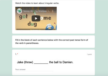 Digital Self Grading Grammar Word Work for Use with G-Suite Google Forms