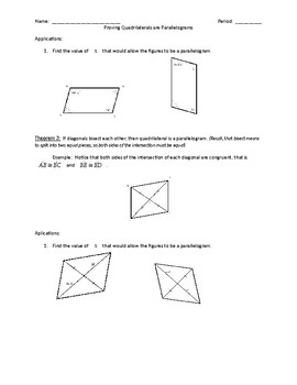 Self Guided Activity for Parallelograms (High School Geometry)