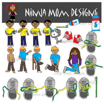 Self Help Sequencing Clip Art in Color and Black Line-Shoes- Teeth- Clothes