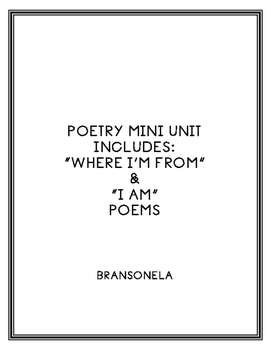 """Self- Identity Poetry Mini-Unit: """"Where I'm From"""" and """"I Am"""""""