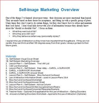 Self Image Unit -- All Lessons Bundle